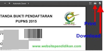 Print dan Cetak Tanda Bukti Pendaftaran PUPNS 2015