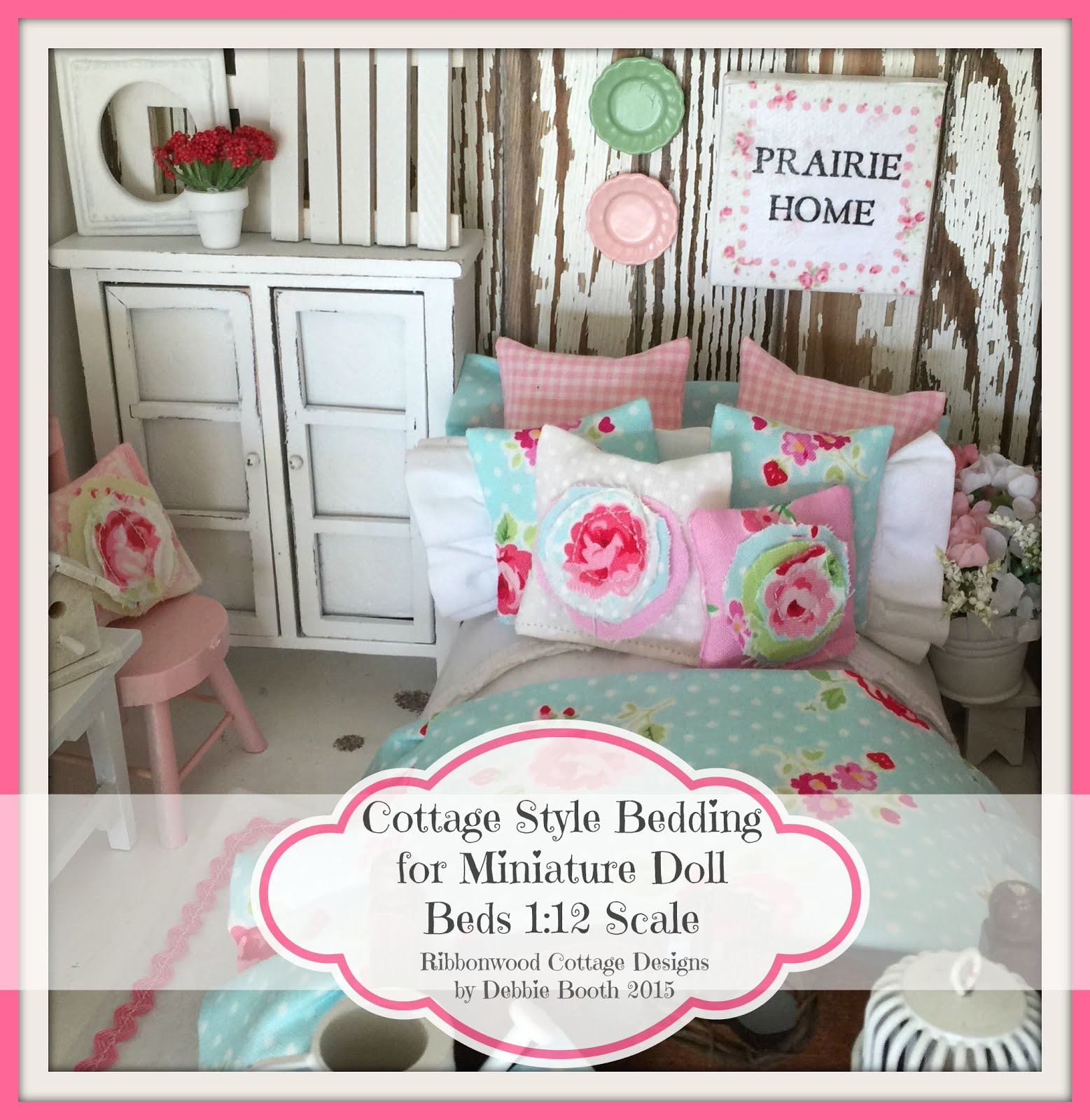 Cottage Style Bedding PDF Pattern Ebook for Miniature Dollhouse Beds 42 Colored Pages