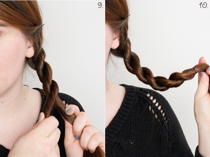 Hair Tutorial Cord Plait Step 9, 10