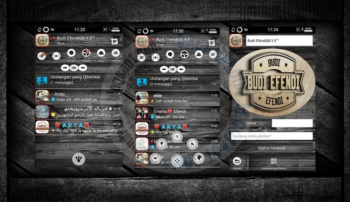 download BBM Mod 2.7.0.23 Thema Darck Wood Smophix