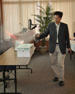 Dr. Chi-Chung (Jorn) Yu demonstrates how to make a trajectory kit for ballistics.