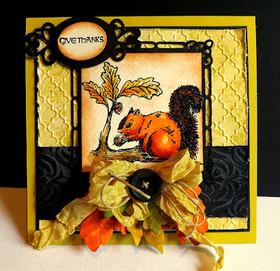 ODBD Stamps Used: Thankful Song  ODBD Dies Used: Fall Leaves and Acorn Dies