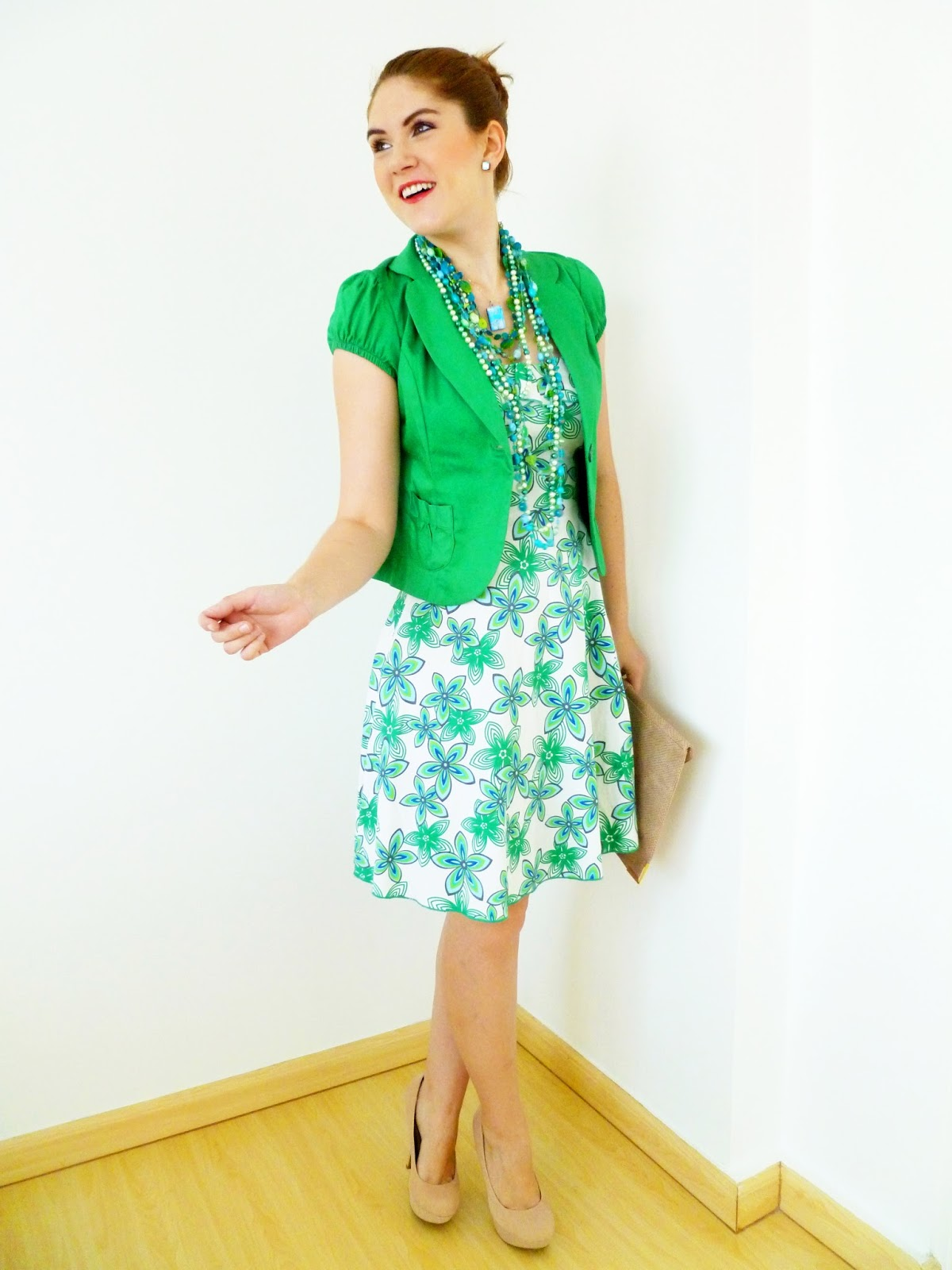 spring outfit, spring fashion, spring style, floral dress, asos clutch, green blazer, green blazer outfit
