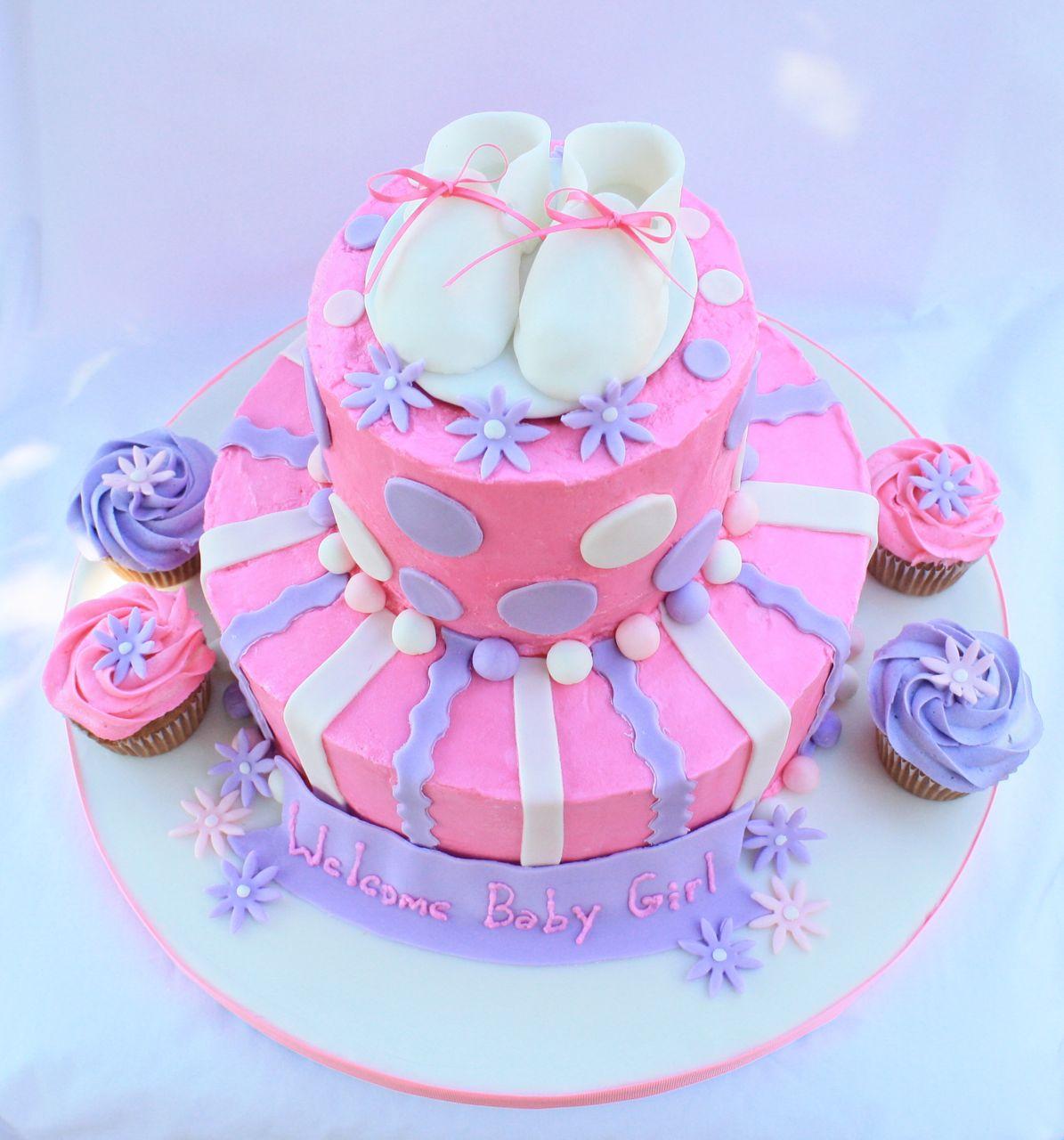 Pink U0026 Purple 2 Tier Baby Shower Cake