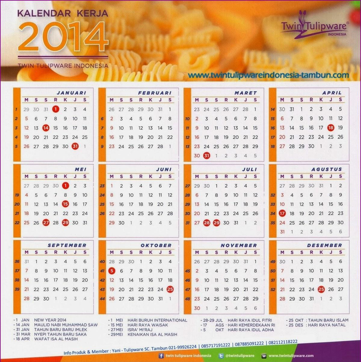 Kalender Kerja Twin Tulipware 2014