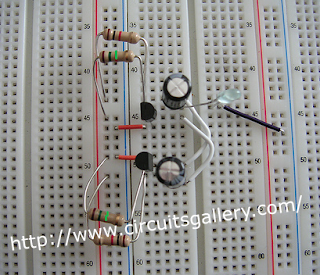 Astable+multivibrator+circuit+using+transistors+on+bread+board Astable Multivibrator using transistors   Transistorised Circuit wave form and operation