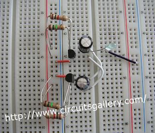 Astable+multivibrator+circuit+using+transistors+on+bread+board Astable Multivibrator using transistors   Transistorised Circuit wave form and operation