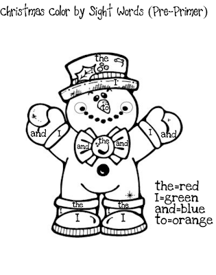 Classroom freebies christmas color by sight words for Sight word coloring pages printable