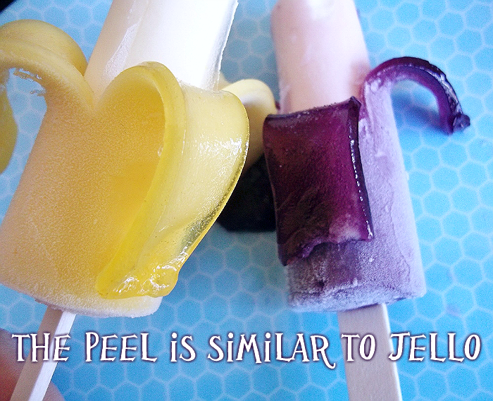 Wonka Peel-A-Pop by Nestle, sold at Walmart, Safeway affiliates, and Krogers nationwide. Vanilla Grape and Vanilla Banana with an edible peel that is similar to gelatin.