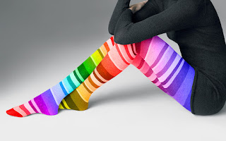Girl Legs Rainbow Colored Stockings Beauty Colorful HD Wallpaper