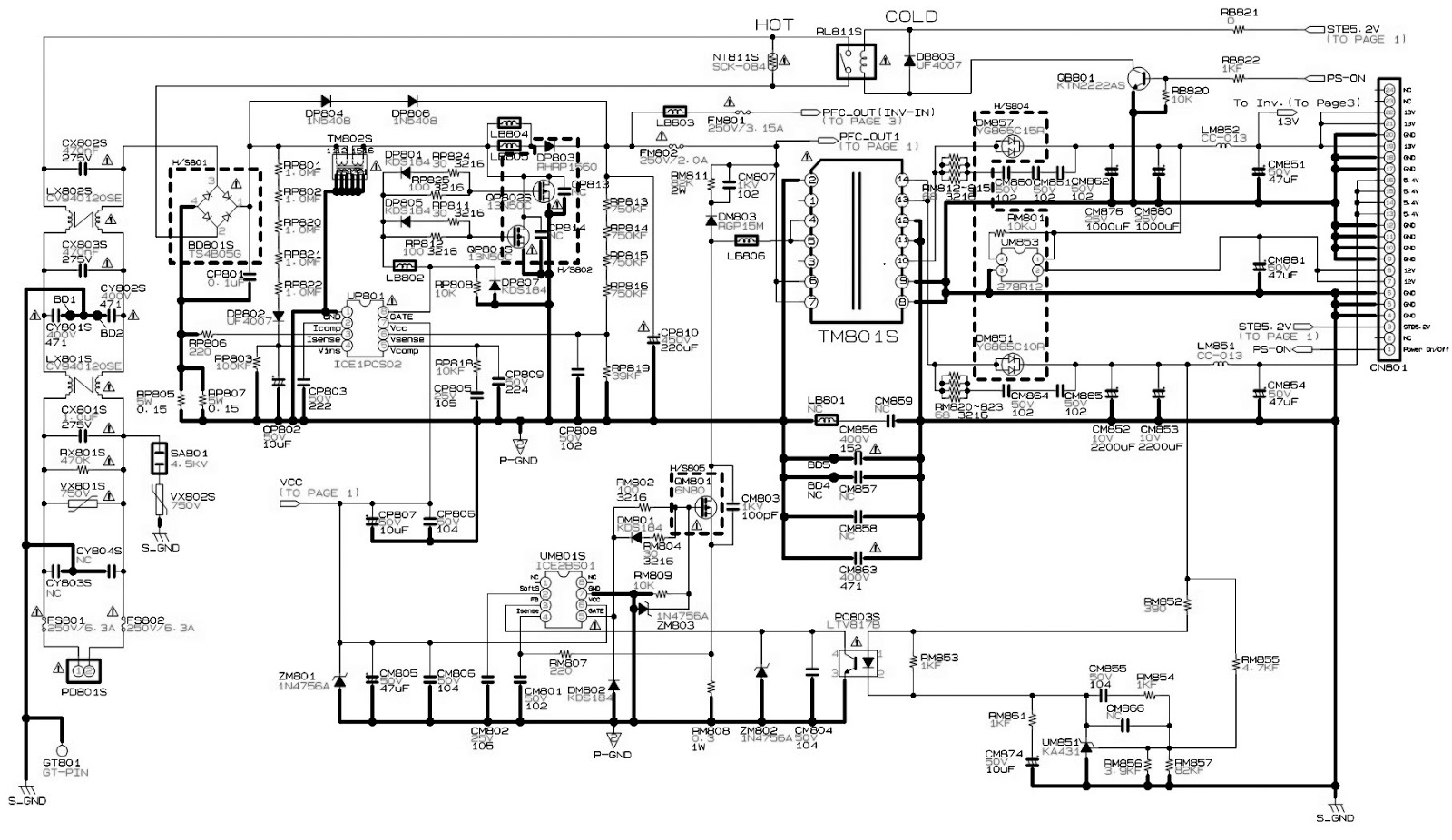 POWER 1 bn44 00165a samsung led lcd tv smps circuit diagram electro help samsung led tv wiring diagram at bakdesigns.co