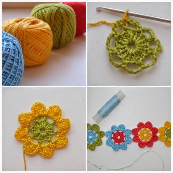 Flor Ganchillo Facil. Simple Brazalete Flores Arco Iris De Crochet ...