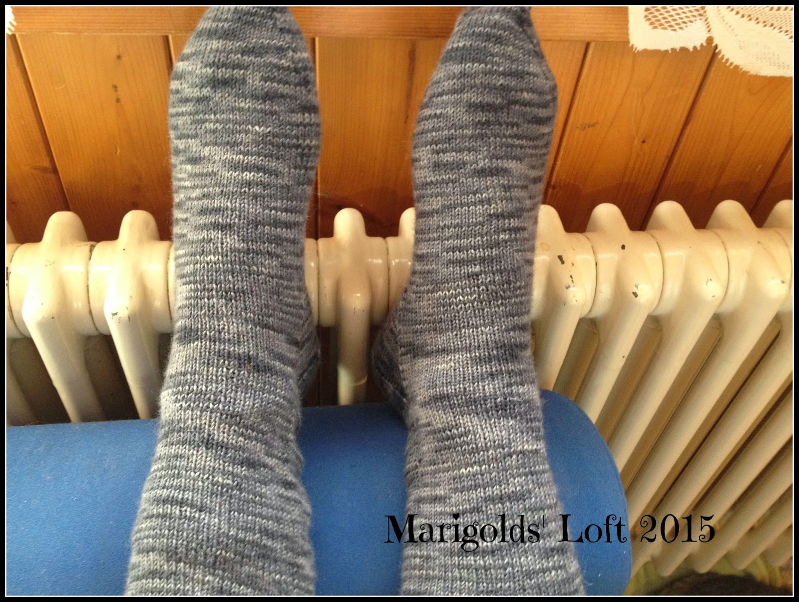 finished handmade socks Red Heart