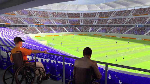 As arquibancadas da Arena Fonte Nova terão espaço dedicado a deficientes físicos