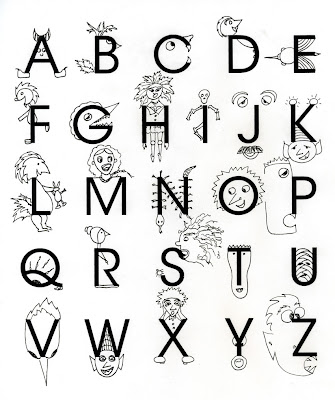ink drawing of monsters on alphabet