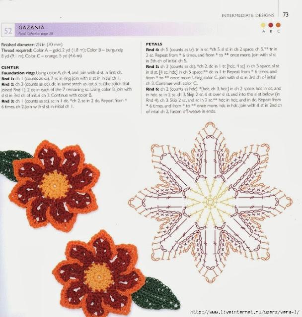 Цветы для украшения крючком со схемами и описанием