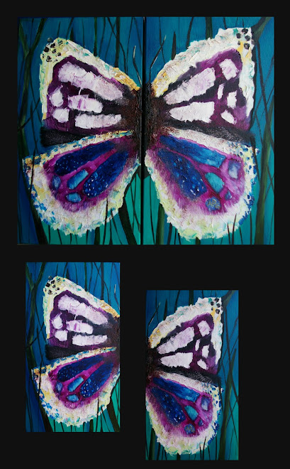 Butterfly diptych - each piece 33 x 19 cm
