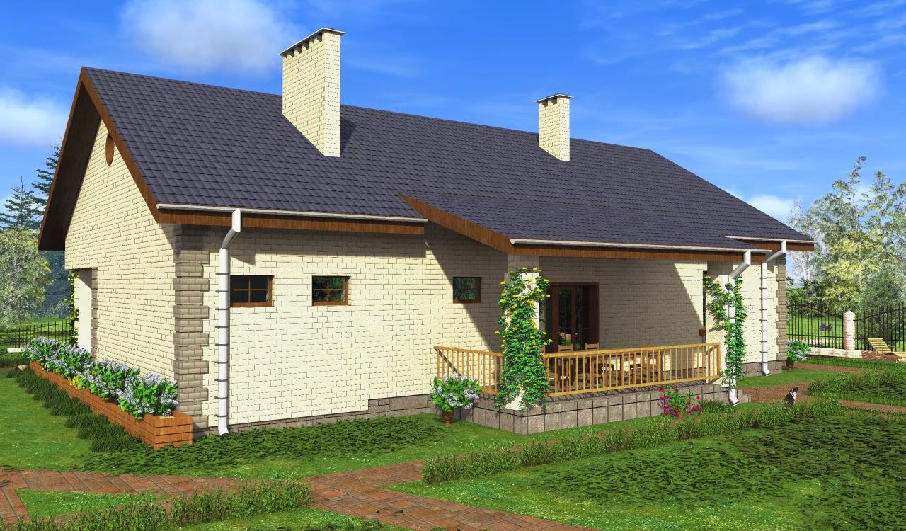Готовый проект одноэтажного дома 3d