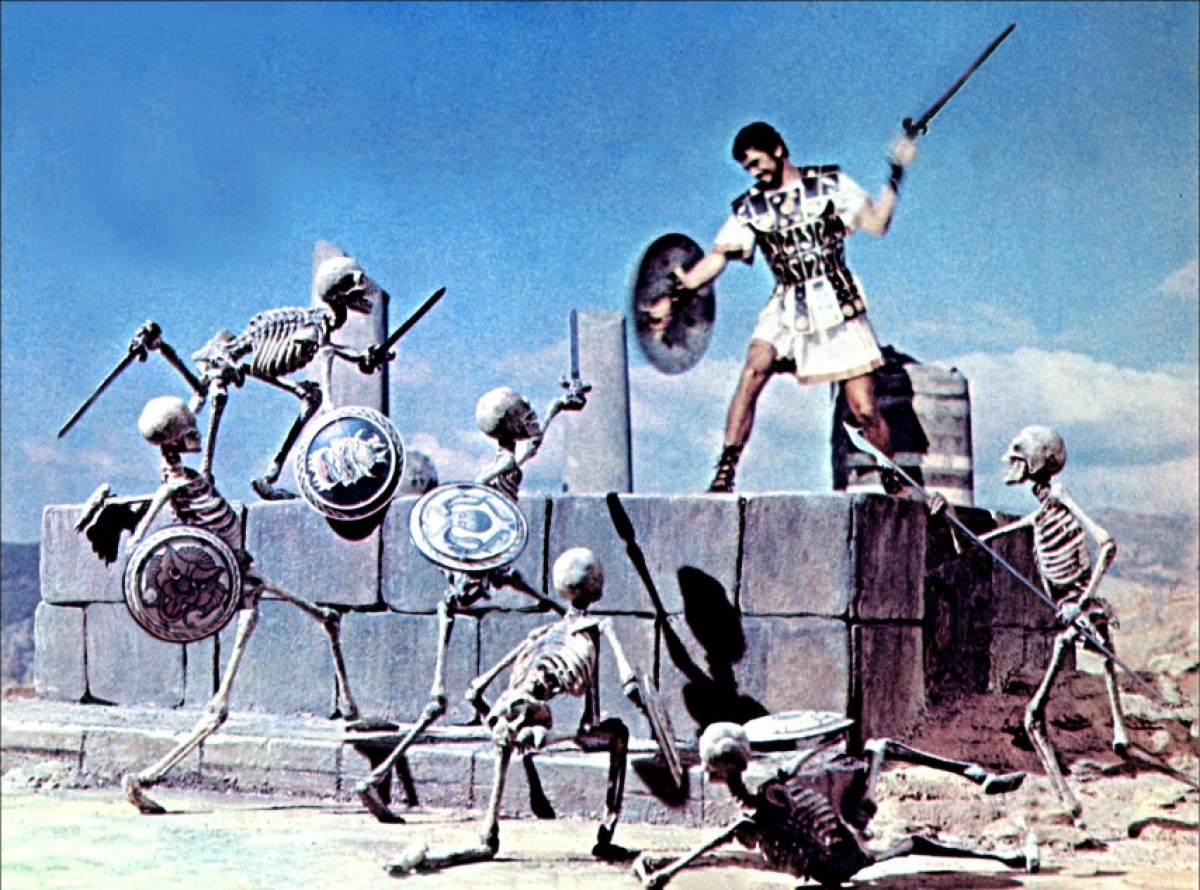 Jason battles the skeleton warriors
