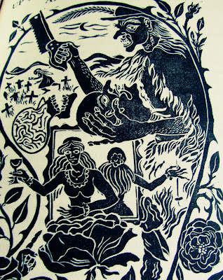 illustrations, Angela Carter, fairy tales, book, baba yaga, creepy, drawing, black and whites, witches, cleaver, knife