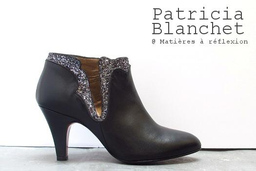 Boots cuir noir paillettes Patricia Blanchet chaussures Kronenberg
