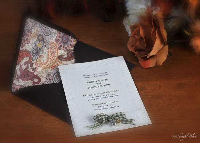 Midnight Blue Invitation Design Autumn Wedding