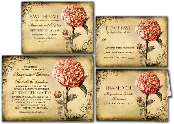 Vintage Rustic Wedding Invitation With Pink Peony Invitation Card
