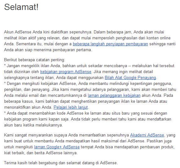 E-Mail Ucapan Selamat dari Adsense
