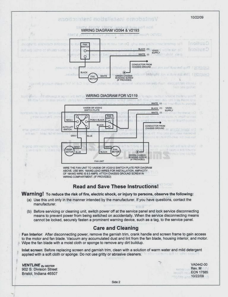 spec2 class a customs rv roof vent installation classacustoms ventline range hood wiring diagram at panicattacktreatment.co