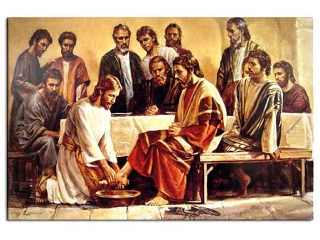 Jesús lava los pies de los apóstoles