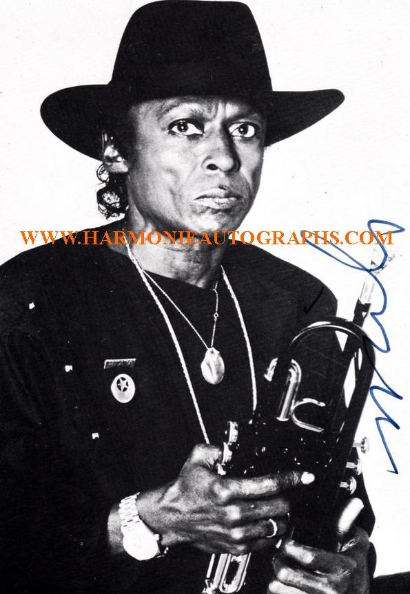 An authentic autographed photograph of Miles Davis