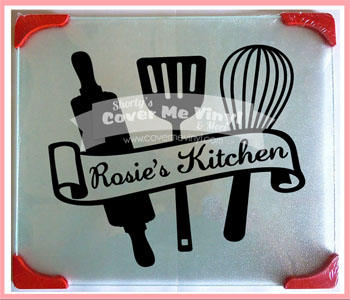 Kitchen Name Glass Cutting Board