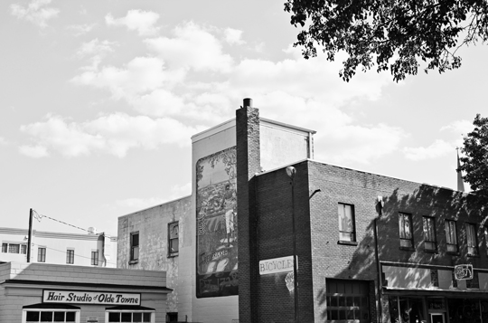 Black and white photo of Fredericksburg mural