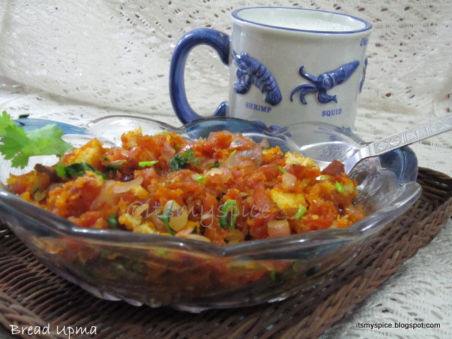 Bread Upma in tomato sauce