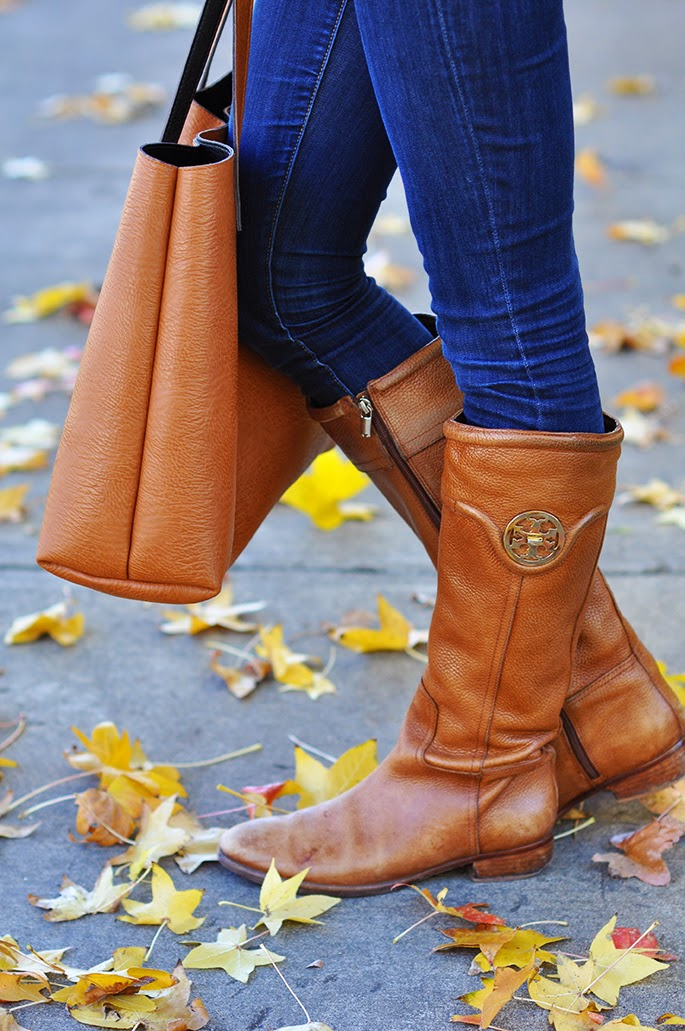 Tory Burch brown riding boots