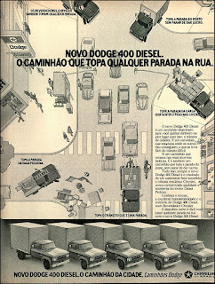 Dodge 400 Diesel - Chrysler; caminhão década de 70;  reclame de carros anos 70. brazilian advertising cars in the 70. os anos 70. história da década de 70; Brazil in the 70s; propaganda carros anos 70; Oswaldo Hernandez;