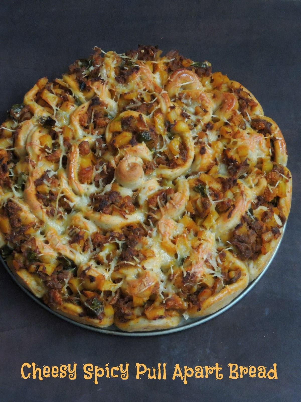 Priya's Versatile Recipes: Cheesy Spicy Pull Apart Bread ...