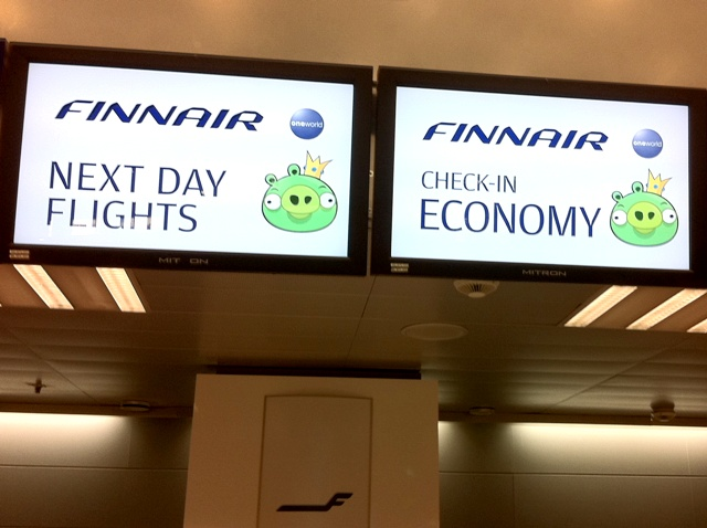 finnair angry birds flight helsinki