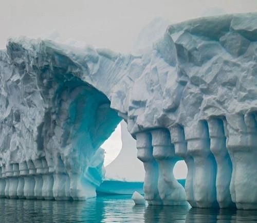 columned glacial bridge antarctica