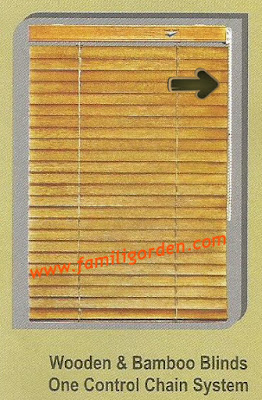 One Control System wooden blinds sharp point