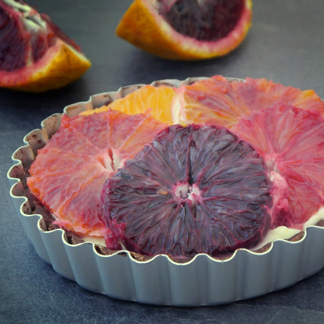 chocolate and blood orange tartlet