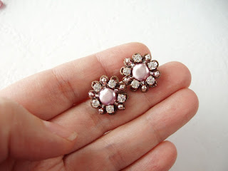 pink earrings, crystal jewelry, stud earrings, post earrings, pink crystal stud earrings
