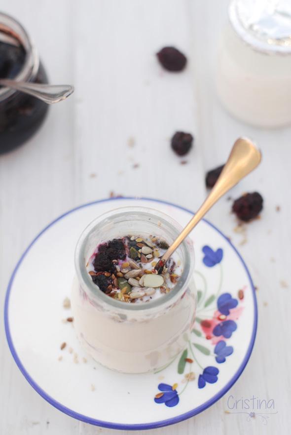 yogur natural con semillas y mermelada