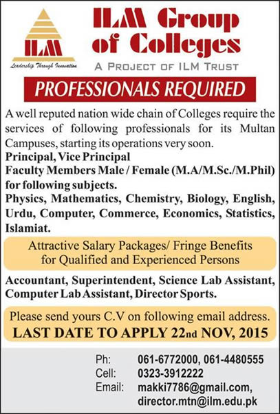Lecturers Jobs in ILM Group of Colleges Multan