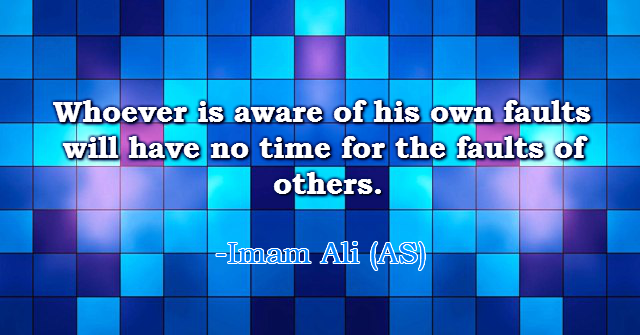 Whoever is aware of his own faults will have no time for the faults of others.