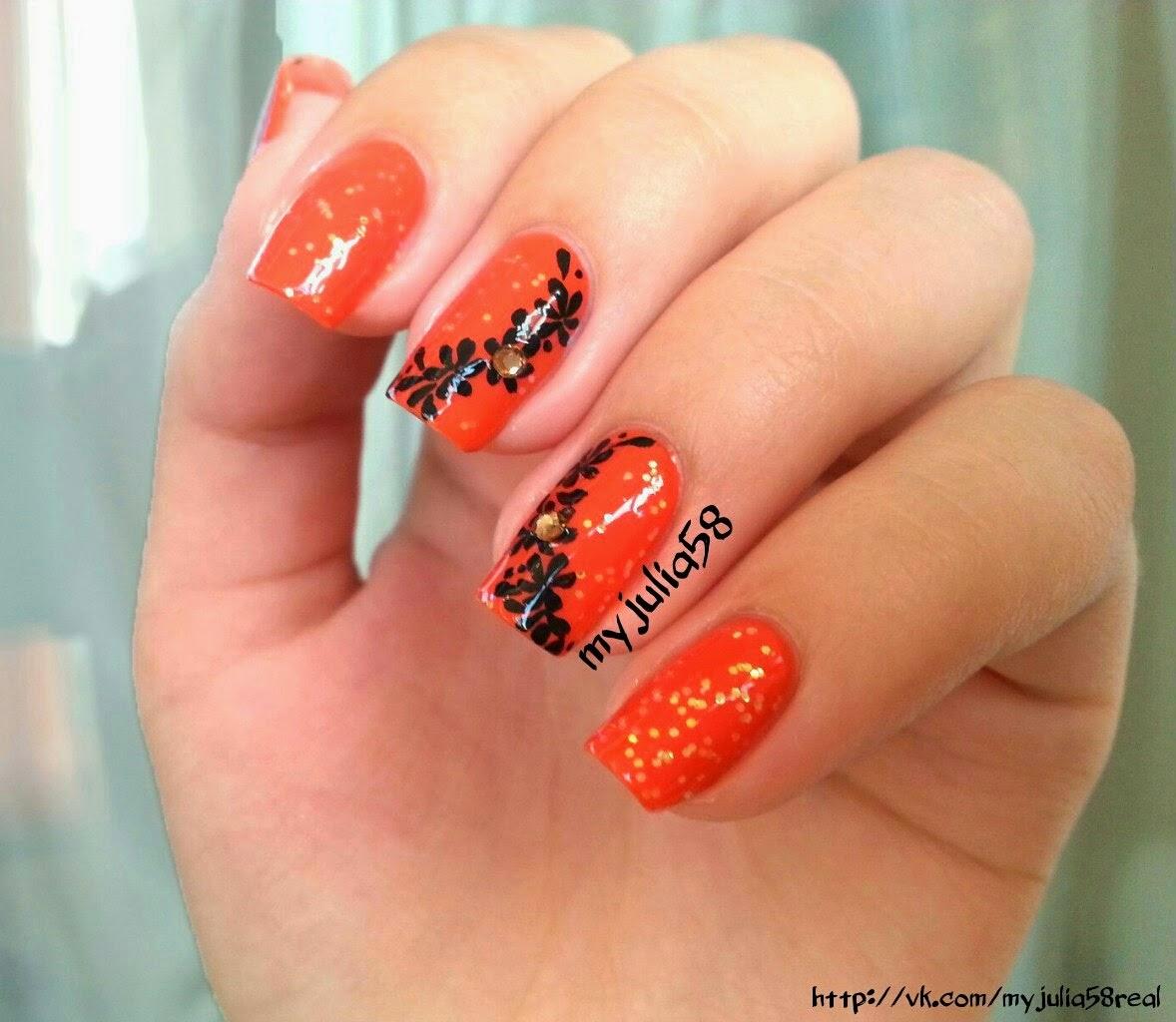 Ногти оранжевого цвета дизайн фото