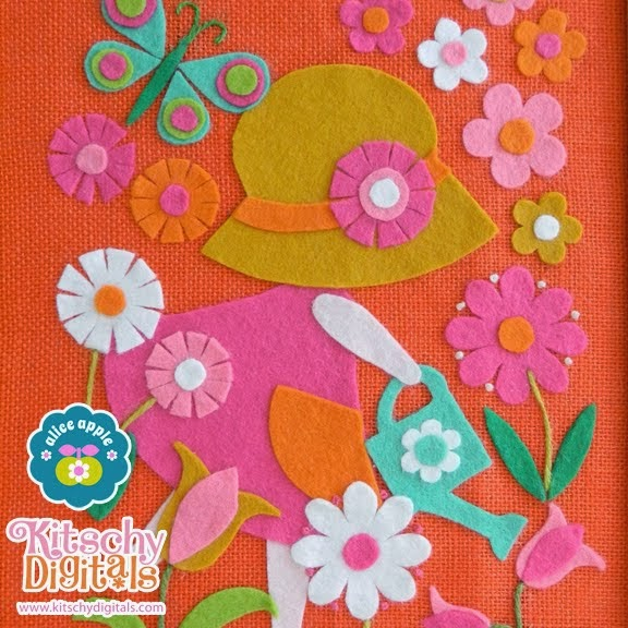 Garden Girl Felt Collage Templates