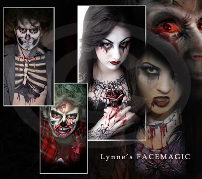 Creepy ghoul face painting pictures with ribs sticking out of skeleton, blood coming from eyes, black roses with black lace, bleeding rotting teeth. Face painting ideas for Halloween