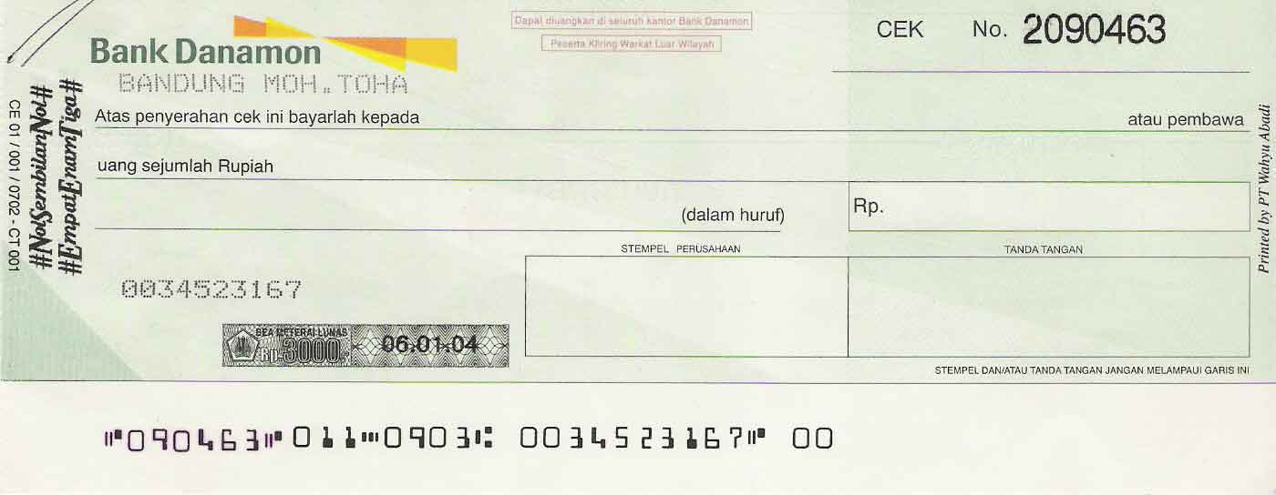 Cek (Bank Danamon)