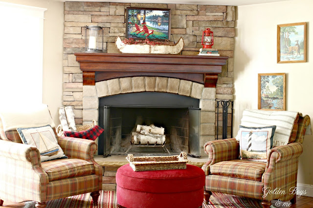 Stone fireplace with cabin style decor-www.goldenboysandme.com